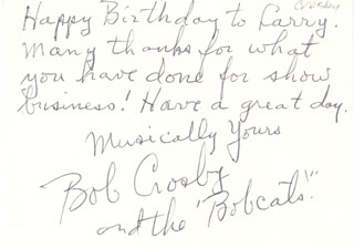 BOB (GEORGE ROBERT) CROSBY - AUTOGRAPH NOTE SIGNED