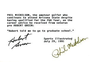 HUBERT GREEN - TYPED CARD SIGNED CO-SIGNED BY: PHIL MICKELSON