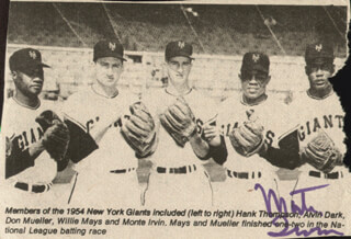 MONTE IRVIN - NEWSPAPER PHOTOGRAPH SIGNED