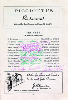 COMES A DAY PLAY CAST - PROGRAM SIGNED CIRCA 1958 CO-SIGNED BY: MICHAEL J. POLLARD, JOSEPH PAPP, DIANA VAN DER VLIS, RUTH HAMMOND, CHARLES WHITE, EILEEN RYAN, BRANDON DE WILDE, ALAN J. PAKULA, JANE LEE, JOHN DUTRA, LORNA THAYER, DAME JUDITH ANDERSON, GEORGE C. SCOTT, ARTHUR O'CONNELL, LARRY HAGMAN