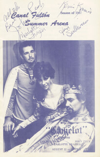 Autographs: CAMELOT PLAY CAST - PROGRAM COVER SIGNED CIRCA 1967 CO-SIGNED BY: CHARLOTTE FRAZIER, IAN SULLIVAN, JOHN PECK, KEVIN KAMIS