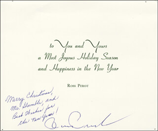 Autographs: H. ROSS PEROT - CHRISTMAS / HOLIDAY CARD SIGNED