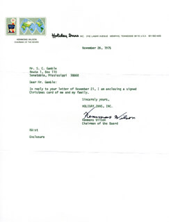 KEMMONS WILSON - TYPED NOTE SIGNED 11/26/1975
