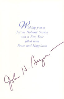 JOHN H. BRYAN - CHRISTMAS / HOLIDAY CARD SIGNED
