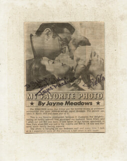 STEVE ALLEN - INSCRIBED NEWSPAPER PHOTO SIGNED CO-SIGNED BY: JAYNE MEADOWS