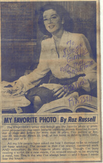 ROSALIND RUSSELL - INSCRIBED NEWSPAPER PHOTO SIGNED