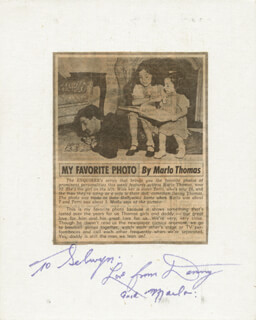 DANNY THOMAS - INSCRIBED PHOTOGRAPH MOUNT SIGNED CO-SIGNED BY: MARLO THOMAS
