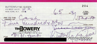 Autographs: BUTTERFLY McQUEEN - CHECK SIGNED & ENDORSED 06/05/1987