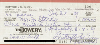 Autographs: BUTTERFLY McQUEEN - CHECK SIGNED 02/08/1987