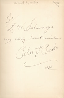 Autographs: PETER DE PAOLO - INSCRIBED BOOK SIGNED 1938