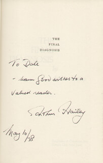 ARTHUR HAILEY - INSCRIBED BOOK SIGNED 05/10/1978
