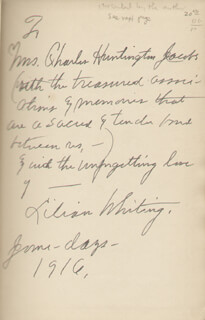 LILIAN WHITING - INSCRIBED BOOK SIGNED 6/1916