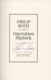 PHILIP ROTH - BOOK SIGNED