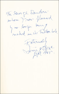 IRVING STONE - INSCRIBED BOOK SIGNED 10/1965