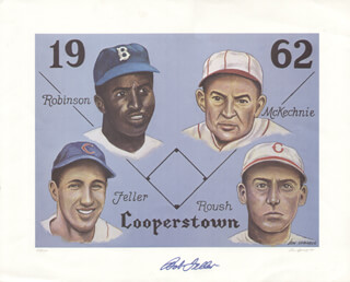 Autographs: BOB FELLER - PRINTED ART SIGNED IN INK CO-SIGNED BY: DON SPRAGUE