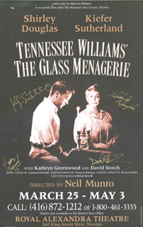 GLASS MENAGERIE - AUTOGRAPHED SIGNED POSTER CO-SIGNED BY: KIEFER SUTHERLAND, SHIRLEY DOUGLAS, DAVID STORCH, KATHRYN GREENWOOD