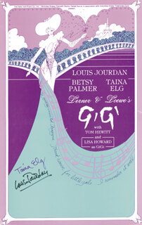 GIGI PLAY CAST - AUTOGRAPHED SIGNED POSTER CO-SIGNED BY: BETSY PALMER, LOUIS JOURDAN, TAINA ELG