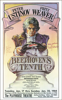 BEETHOVEN'S TENTH - PLAY CAST - AUTOGRAPHED SIGNED POSTER CIRCA 1984 CO-SIGNED BY: FRITZ WEAVER, PETER USTINOV