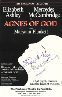 Autographs: AGNES OF GOD - PLAY CAST - POSTER SIGNED CO-SIGNED BY: MERCEDES McCAMBRIDGE, ELIZABETH ASHLEY, MARYANN PLUNKETT