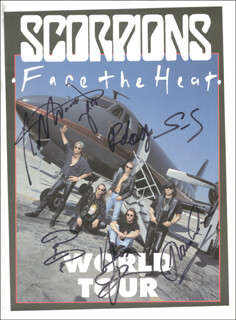 THE SCORPIONS - PROGRAM COVER SIGNED CO-SIGNED BY: THE SCORPIONS (KLAUS MEINE), THE SCORPIONS (RUDOLF SCHENKER), THE SCORPIONS (MATTHIAS JABS), THE SCORPIONS (HERMAN RAREBELL), THE SCORPIONS (RALPH RIECKERMANN)
