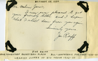 JOE REIFF - AUTOGRAPH NOTE SIGNED CIRCA 1933