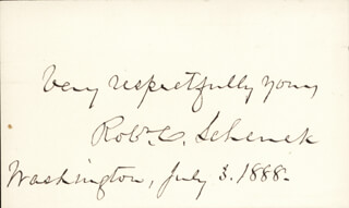 MAJOR GENERAL ROBERT C. SCHENCK - AUTOGRAPH SENTIMENT SIGNED 07/03/1888