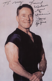 JACK LALANNE - INSCRIBED PICTURE POST CARD TWICE SIGNED
