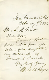 MAJOR GENERAL THOMAS H. RUGER - AUTOGRAPH LETTER SIGNED 02/09/1893