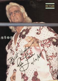 Autographs: RIC FLAIR - MAGAZINE PHOTOGRAPH SIGNED 04/19/1988
