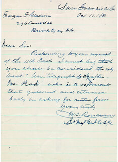 MAJOR GENERAL WILLIAM S. OLD ROSY ROSECRANS - AUTOGRAPH LETTER SIGNED 10/11/1887