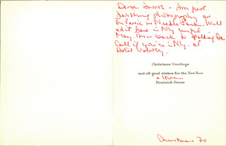 DOMINICK DUNNE - INSCRIBED CHRISTMAS / HOLIDAY CARD SIGNED  - HFSID 222118