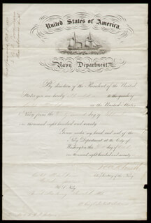 Autographs: REAR ADMIRAL JOHN C. HOWELL - MILITARY APPOINTMENT SIGNED 10/08/1877 CO-SIGNED BY: REAR ADMIRAL CHRISTOPHER RODGERS