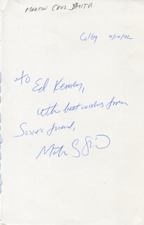 MARTIN C. SMITH - AUTOGRAPH NOTE SIGNED 04/14/1992