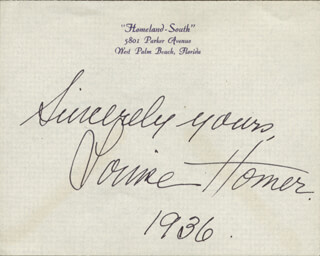 LOUISE HOMER - AUTOGRAPH SENTIMENT SIGNED 1936