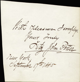 MAJOR GENERAL FITZ JOHN PORTER - AUTOGRAPH NOTE SIGNED 09/17/1885