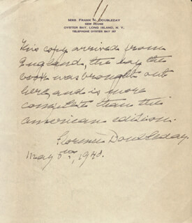 FLORENCE (MRS. FRANK) DOUBLEDAY - AUTOGRAPH LETTER SIGNED 05/05/1940