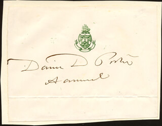 ADMIRAL DAVID D. PORTER - PRINTED CARD SIGNED IN INK