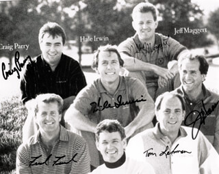 Autographs: HALE IRWIN - INSCRIBED PHOTOGRAPH SIGNED CO-SIGNED BY: JEFF MAGGERT, FRED FUNK, JAY HAAS, CRAIG PARRY, TOM LEHMAN