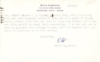 ROLFE HUMPHRIES - TYPED LETTER SIGNED 06/12/1967