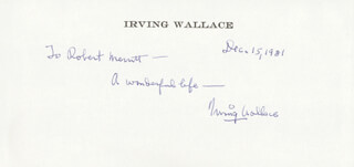 IRVING WALLACE - AUTOGRAPH NOTE SIGNED 12/15/1981