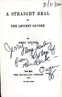 OWEN WISTER - INSCRIBED BOOK PAGE SIGNED 08/11/1920