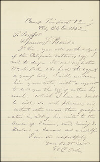 MAJOR GENERAL E. O. C. ORD - AUTOGRAPH LETTER SIGNED 02/24/1862