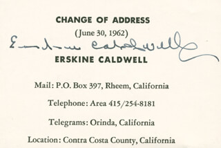 ERSKINE CALDWELL - DOCUMENT SIGNED CIRCA 1962