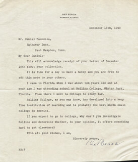 Autographs: REX BEACH - TYPED LETTER SIGNED 12/18/1940