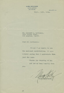 MARK HELLINGER - TYPED NOTE SIGNED 09/14/1934