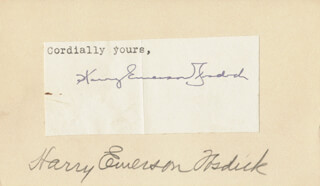 HARRY EMERSON FOSDICK - TYPED SENTIMENT SIGNED