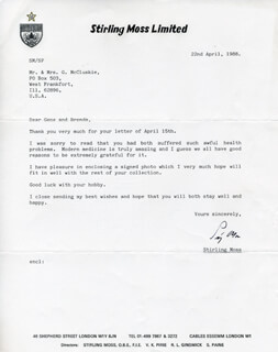 SIR STIRLING C. MOSS - TYPED LETTER SIGNED 04/22/1988