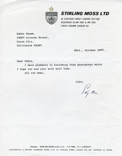 SIR STIRLING C. MOSS - TYPED LETTER SIGNED