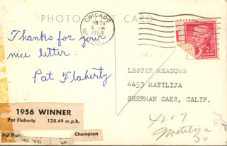 Autographs: PAT FLAHERTY - PICTURE POST CARD SIGNED CIRCA 1958