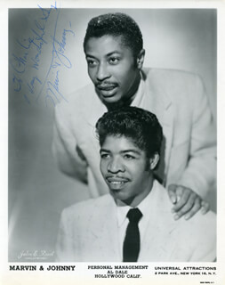 MARVIN & JOHNNY - INSCRIBED PRINTED PHOTOGRAPH SIGNED IN INK CO-SIGNED BY: MARVIN & JOHNNY (MARVIN PHILLIPS), MARVIN & JOHNNY (EMORY JOHNNY PERRY)